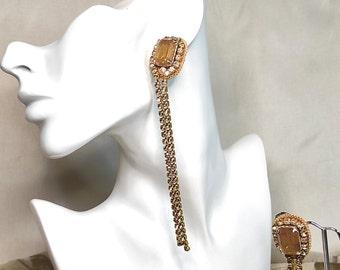 Long rhinestone earrings elegant crystal drop earrings bridal wedding party - burlesque jewelry 20s earrings - embroidered earrings