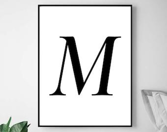 modern art prints letter m printable initial m print m wall art art print m wall art letter prints m letter m letter decor m poster