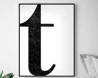 Letter T Print Etsy