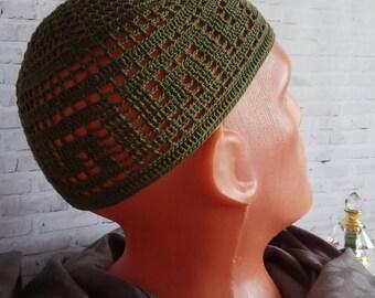 Mens beanie Green muslim hat Knitted hat Summer fedora Mens straw hat Mens  hats Skull cap Hand crochet hat Bucket hat Olive green hat 9f28c58d3669