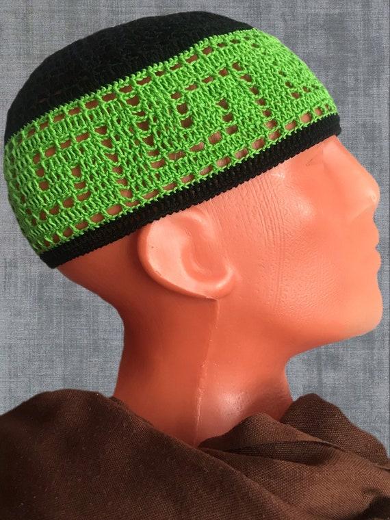 Black green cotton kufi hat men Crochet beanie