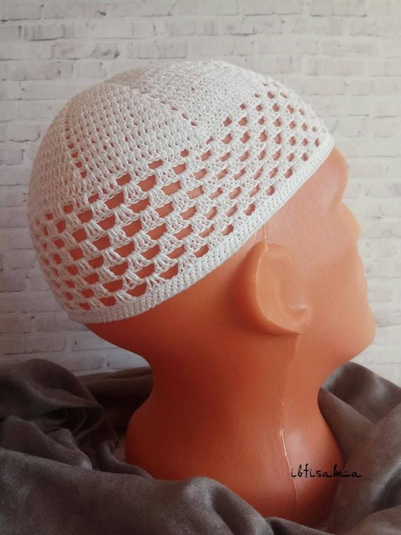 White Kufi Kufi Hat Men Hand Crochet Hat African Hats Kufi Etsy