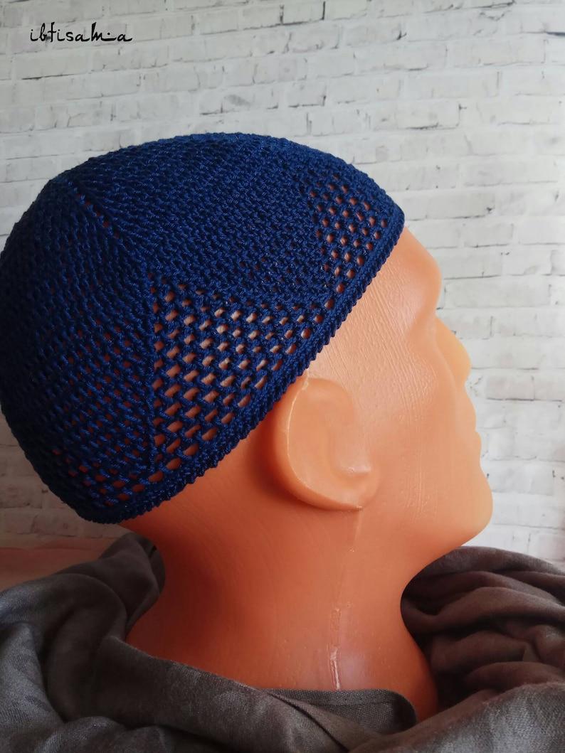 86978b617c6 Cap Navy blue cap Skull cap Autumn hat Dark blue cap Knitted