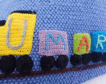Knit snood scarf for boy.Knit boy scarf.Knit boy snood.Wool snood.Inscribed snood.For boy.