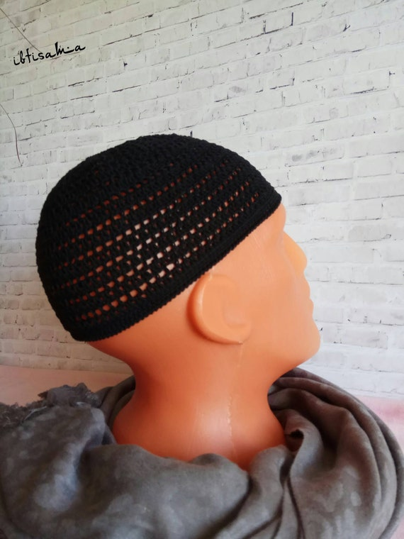 Mens beanie Crochet beanie Black cap for men Gift for him  f18c88a2736