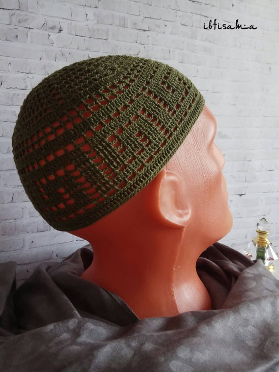 Mens beanie Green muslim hat Knitted hat Summer fedora Mens  1e22cd1f355f