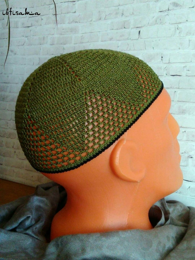 Kufi hat men Olive green hat Fashion crochet hat African hat  7a1a7e556be2