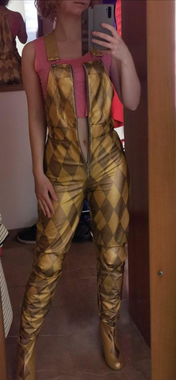 Harley Quinn Birds Of Prey Full Cosplay Costume Gold Jumpsuit Etsy