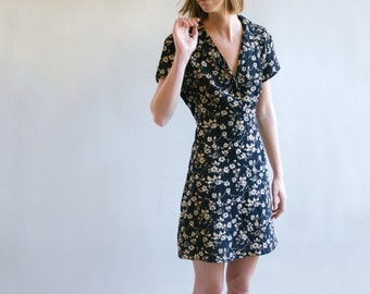 80's Black Floral Print Dress With Tie Back | Short Sleeve Dress | Collared Dress | Tie Back Dress | S-M-L