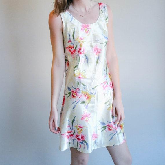 Yellow Floral Print Slip Dress | Sleeveless Dress… - image 1