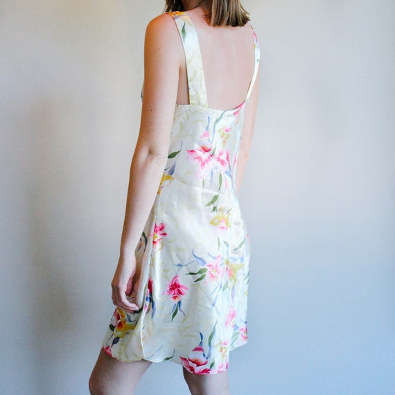 Yellow Floral Print Slip Dress | Sleeveless Dress… - image 2
