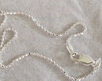"""Diamond Cut Bead Chain (Necklace) -- Sterling Silver -- 1.2mm -- Available in Lengths 14"""" to 30"""" -- MADE IN ITALY"""