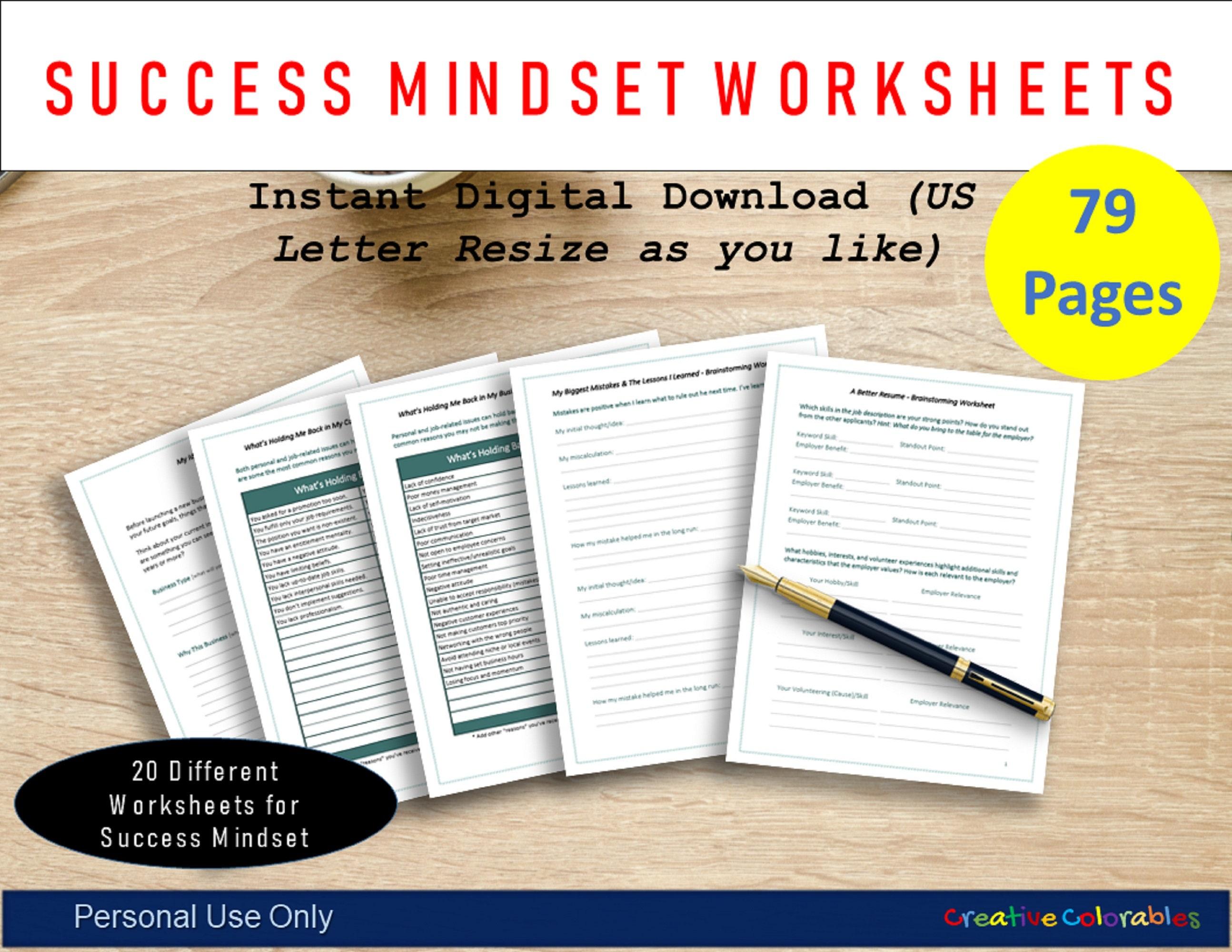Success Mindset Arbeitsblatt druckbar   Entwicklung einer erfolgreichen  Denkweise   Gute Habit   Wachstum   Ein besserer Leader sein   Druckbare ...