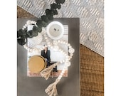 Wooden Beaded and Rattan Garland Coffee Table Garland