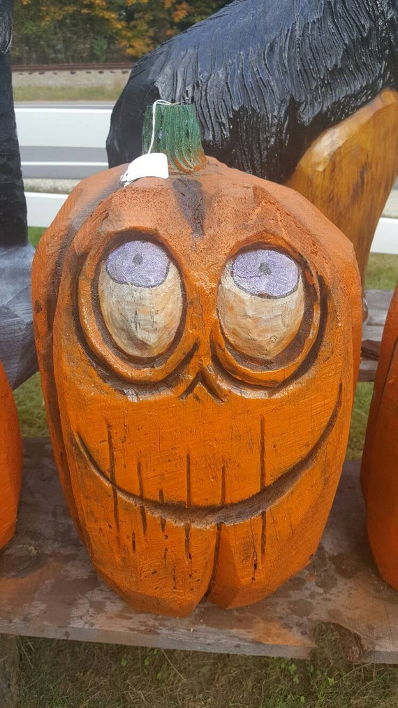 Chainsaw carving wood carved pumpkins wood statue etsy