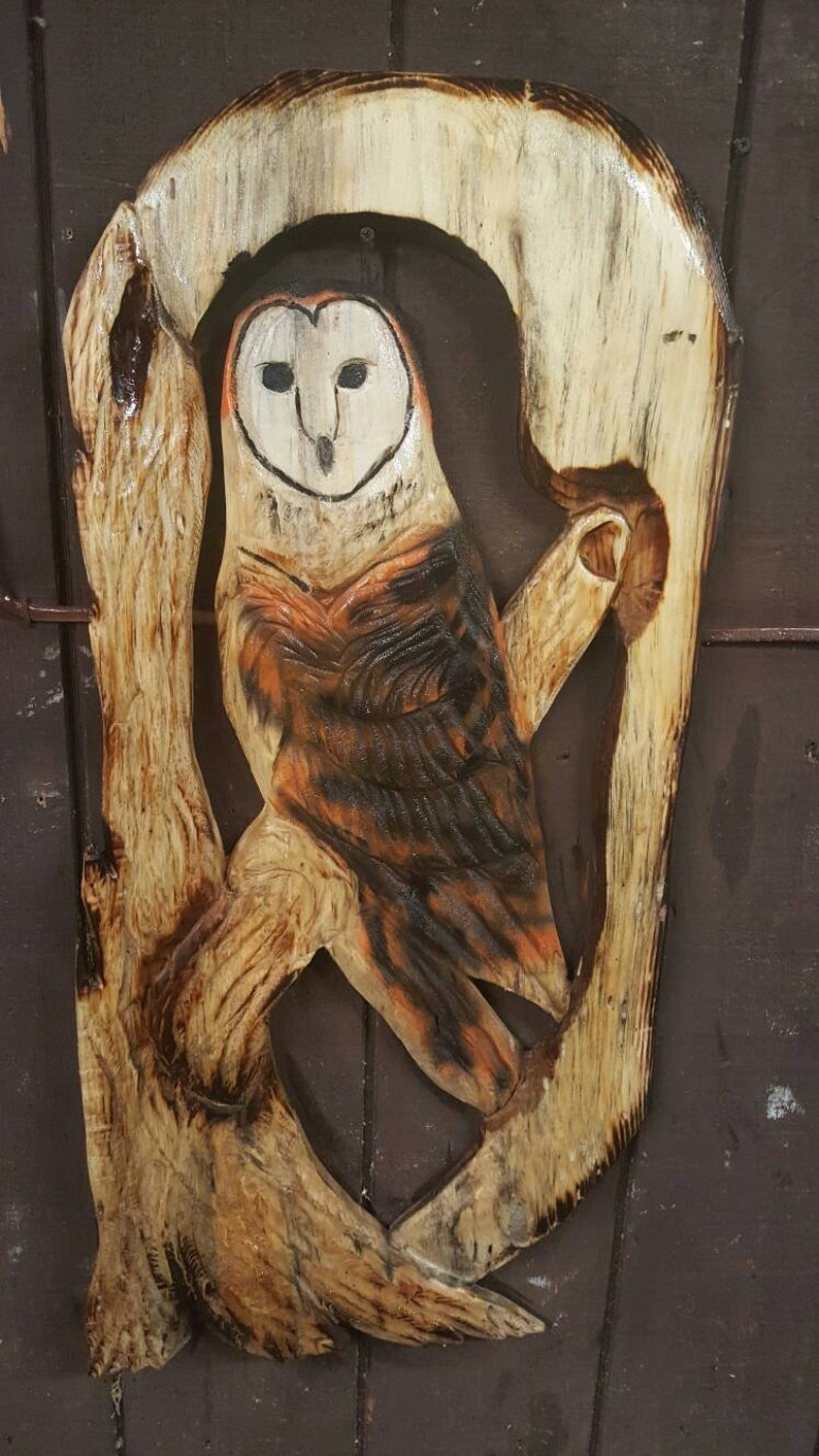 Flying owl in ash commission any karl barker chainsaw