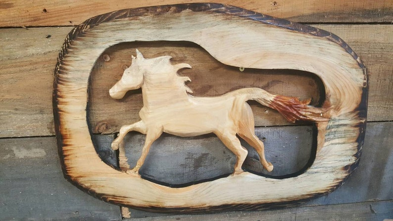 Horse wall hanger wooden horse wall art chainsaw carved etsy