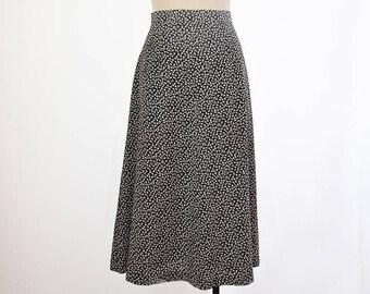 Black and white vintage cloverleaf skirt, A-Line skirt