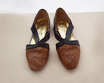 Vintage braided leather shoes, brown/black woven flats