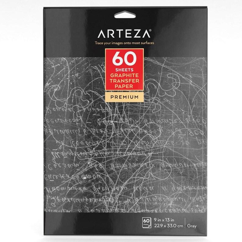 Arteza Graphite Transfer Paper 9 X 13 60 Sheets Grey image 0