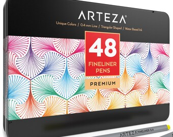 Arteza Fineliner Pens 48 - Assorted-Colors (0.4mm Tips, Set of 48)