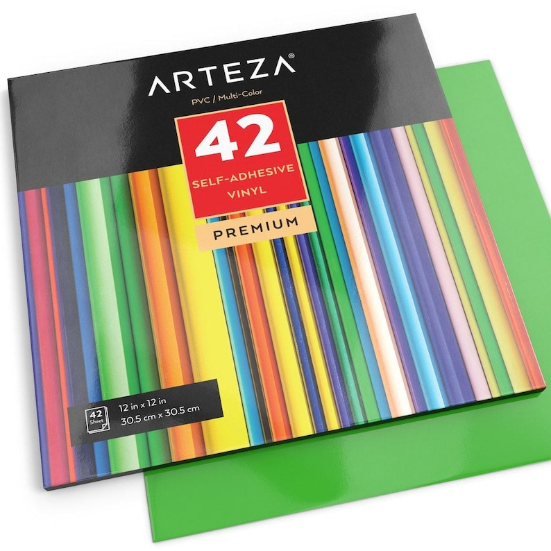 "50 Sheets Other Art Supplies Arteza 12x12"" Glossy Black Self Adhesive Vinyl"