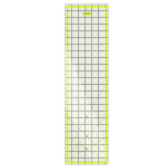 """ARTEZA Acrylic Quilters Ruler 4.5/""""X4.5/"""", 6/""""X6/"""", 9.5 Double-Coloured Grid Lines"""