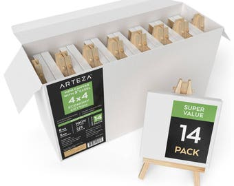 Arteza 4x4 Mini Canvas & Easel (Set of 14)