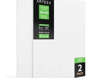 Arteza 30x40 Stretched Canvas, Economy-Cotton (Pack of 2)