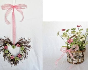 Pink and Green Daisy Heart Shaped Wreath with a matching Pink and Green Daisy Basket of Flowers