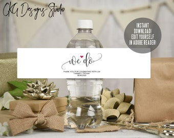 wedding water bottle labels etsy