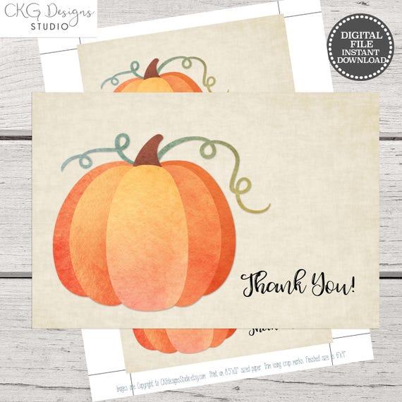 Thank You Card Pumpkin Thank You Card Printable Thank You Etsy