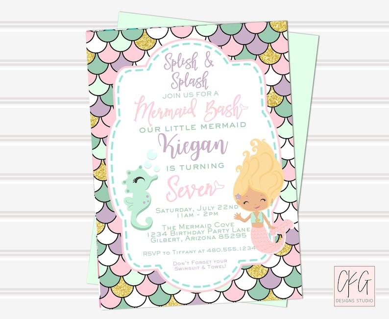 Mermaid Birthday Invitation Pastel Under The Sea
