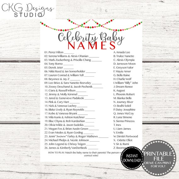 Christmas Baby Shower Games Printable Celebrity Baby Name Game Etsy