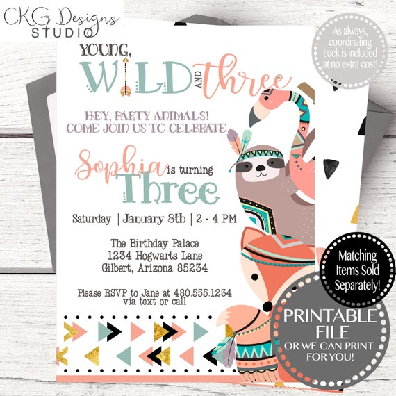 Girl Birthday Invites Instant Download 3rd Birthday Girl