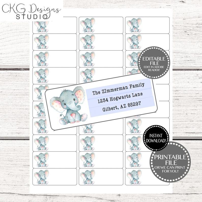 Address Label Template, Address Label Instant Download, Elephant Address  Label Printable, Baby Shower Address Label Printable, Address Label