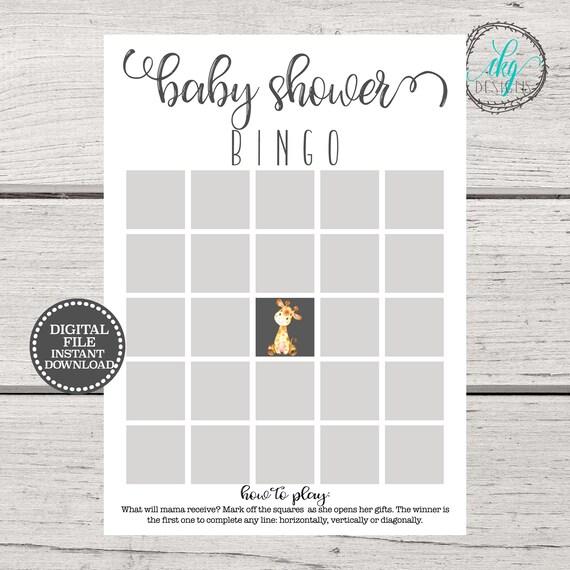 Baby Shower Bingo Cards Baby Shower Bingo Printable Baby Etsy