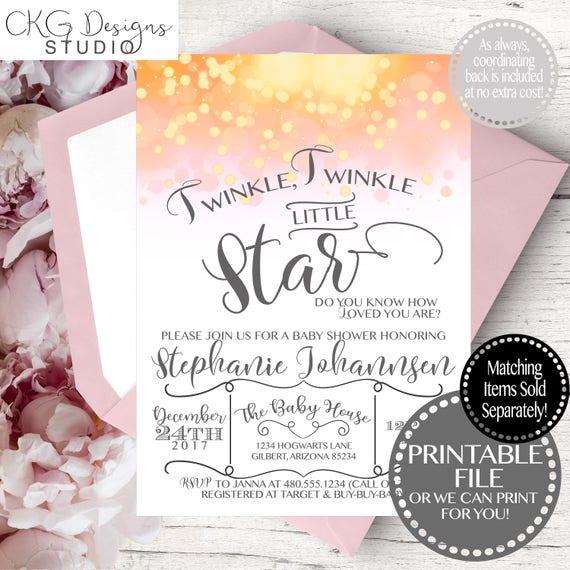 Girl Baby Shower Invitation, Twinkle Twinkle Little Star Baby Shower Invitation, Twinkle Twinkle Baby Shower Invitation Printable, Twinkle