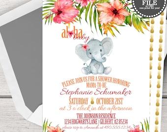 Elephant Baby Shower Invitations, Elephant Baby Shower Invites, Aloha Baby Shower Invitation, Aloha Baby Shower Invites, Aloha Elephant Baby