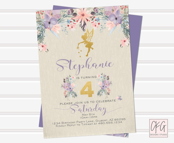 Fairy Birthday Invitation Girl Digital Download Fairy Birthday Invitations Personalized Printable First Birthday Invitation 1st Birthday