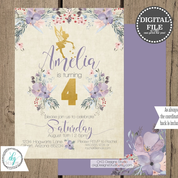 Fairy Birthday Invitation Girl Digital Download Fairy Birthday Invitations Personalized Printable First Birthday Invitation 1st Birthday