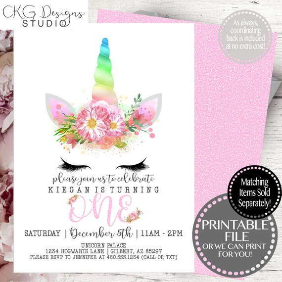 Unicorn Birthday Invitation Magical First Printable