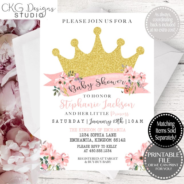 Princess Baby Shower, Princess Baby Shower Invitations, Princess Invitation, Princess Baby Shower Invitation, Princess Baby Shower Invites