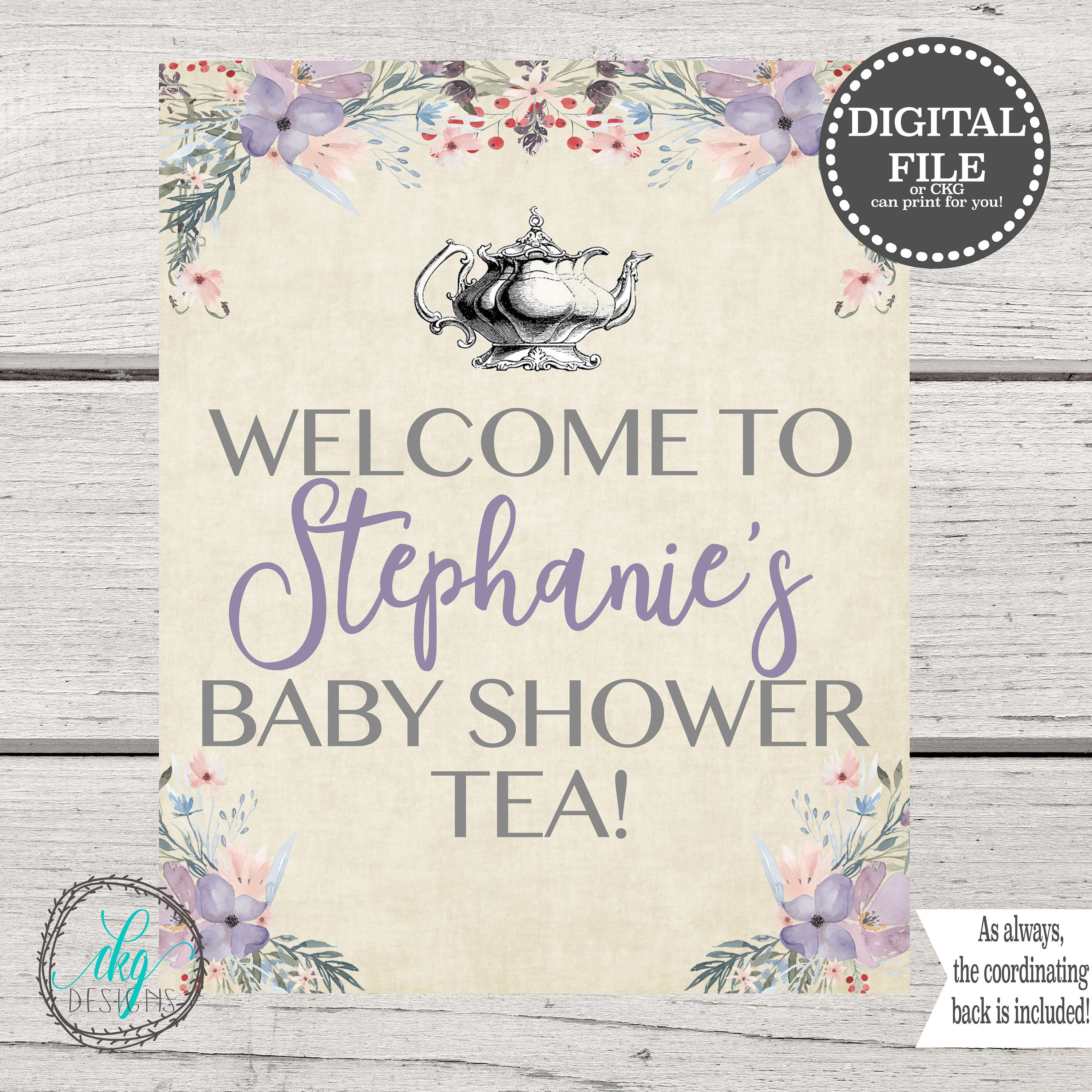 Baby Shower Tea Party Signs Baby Shower Tea Party Welcome to | Etsy