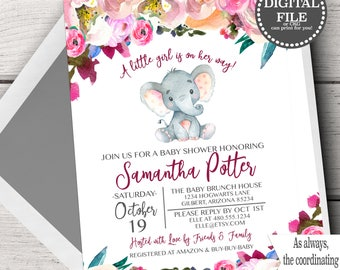 Pink Elephant Baby Shower Invitations, Elephant Baby Shower Invites, Baby Shower Elephant Template, Elephant Baby Shower Pink Florals Girl