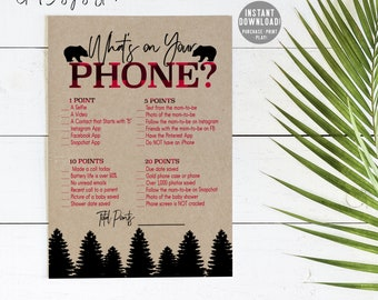 Lumberjack Baby Shower Games, Buffalo Plaid Baby Shower Games Printable,  Whats on Your Phone Baby Shower Game, Plaid Whats on Your Phone