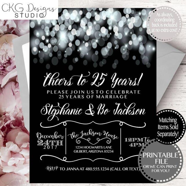 Silver Wedding Anniversary Invitation, 25 Years Wedding Anniversary Invitation, Wedding Anniversary Silver Invitation, Silver Anniversary