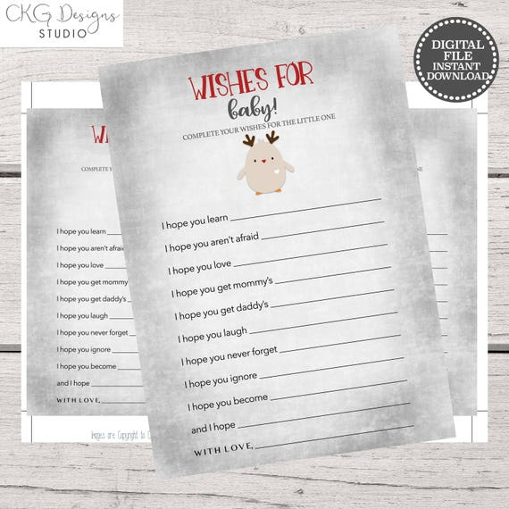 Christmas Baby Shower Games Printable Wishes For Baby Instant Etsy
