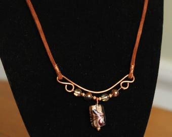 Brown N Copper Necklace, Brown Suede Necklace, Suede N Copper Necklace