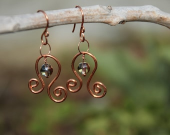 Copper Swirl Earrings, Copper Earrings, Swirl Earrings